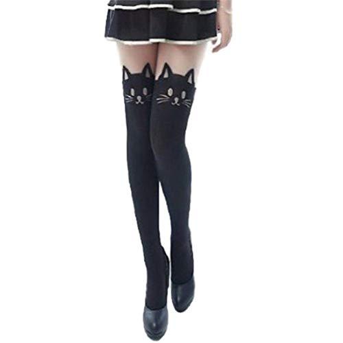 Demarkt Strapsstrümpfe Damen Strapsstrümpfe Strümpfe mit Katze Tattoo Pantyhose Cat Over Knee Socks Stocking OVERKNEE Silk Blend Hose