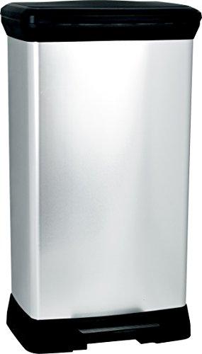 Curver Cubo de basura con pedal 50L, Metal, 37x27x70 cm, 187152