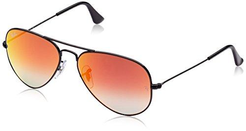 Ray Ban Unisex Sonnenbrille Aviator Gestell: schwarz, Gläser: rot Gradient, verspiegelt 002/4W), Large (Herstellergröße: 55)