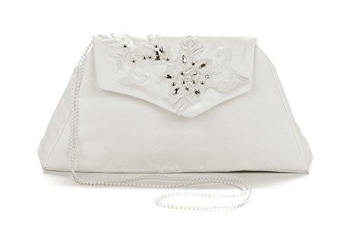 Frühlings-SALE! Brauttasche Abendtasche festliche Tasche Elfenbein mit Stickerei und Perlenkette