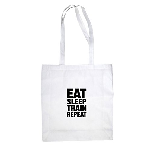 Eat Sleep Train Repeat - Stofftasche / Beutel Weiß