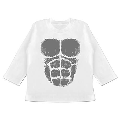 Karneval und Fasching Baby - Gorilla Kostüm Fasching - 18-24 Monate - Weiß - BZ11 - Baby T-Shirt ()