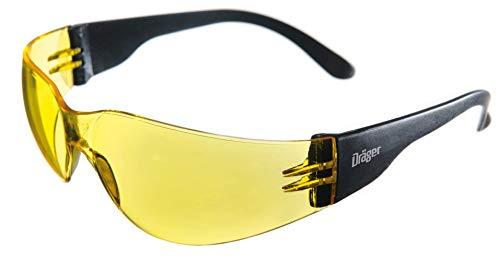 Dräger Schutzbrille X-pect 8312 | Leichte Sicherheitsbrille | Für Baustelle, Werkstatt, Fahrrad-Fahren, Joggen | Getönt (Gelb), Kratzfest und beschlagfrei | 1 St.