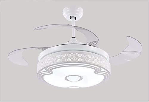 LLg-fsd Weißer hohler Entwurfs-Ventilator-Musik-Leuchter mit Ventilator Bluetooth LED, Restaurant-Deckenventilator mit hellem Dimmer-Wandsteuerungsdurchmesser 107Cm Badezimmer-Ventilator-Licht (Bluetooth Mit Badezimmer-ventilator Licht,)
