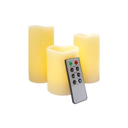 Juego de velas LED decorativas con mando a distancia (aroma a vainilla, 3 unidades)