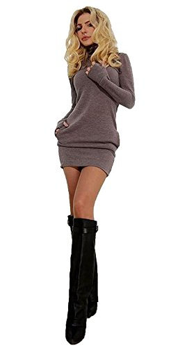 Abito corto donne Inverno collo alto a maniche lunghe aderente casuale sottile