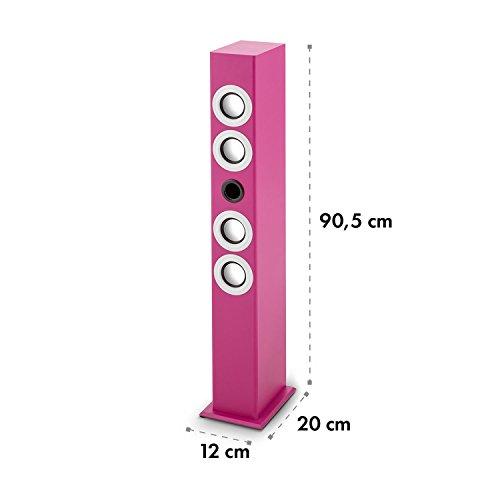 oneConcept Tallgirl • Karaoke Anlage • Karaoke Player • Karaoke Set • Turmlautsprecher • vier Breitbandlautsprecher • Bassreflex • Bluetooth • 2 x Kabelmikrofon • 1000 mAh Akku • Radio-Tuner • USB-Port • MP3-fähig • AUX-IN • LED-Effektbeleuchtung • pink - 8