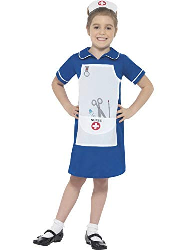 (Halloweenia - Mädchen Kinder Krankenschwester Kostüm mit Kleid und Haube, perfekt für Karneval, Fasching und Fastnacht, 140-152, Blau)