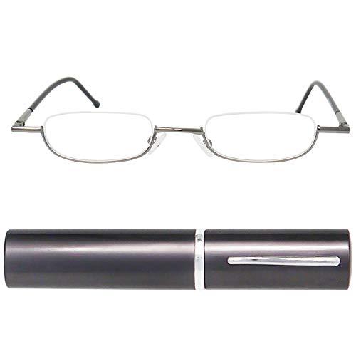 Leichte Metall Mini Halbbrille Lesebrille | Edelstahl Rahmen (Graphit) | mit GRATIS Slim-Fit Alu Etui | Lesehilfe für Damen und Herren von Mini Brille | +1.5 Dioptrien