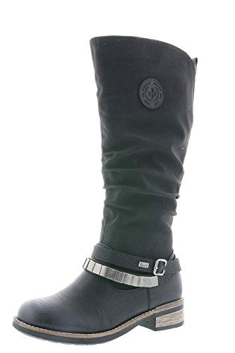 Rieker Damen Klassische Stiefel 94661,Frauen Boots,Langschaftstiefel,Blockabsatz 3.5cm,schwarz/schwarz/schwarz, EU 41
