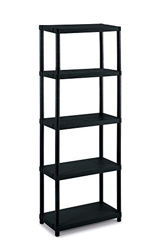 Terry 1002649 scaffale in plastica, nero, 60x30x165 cm