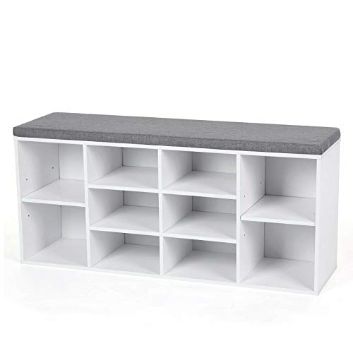 Superb Maxxprint Wood Storage Bench Upholstered Shoes White Cubby Entryway Bedroom Mudroom Rack Cubbies Organizer Desk Cabinet Furniture Hall Seating Prepac Evergreenethics Interior Chair Design Evergreenethicsorg