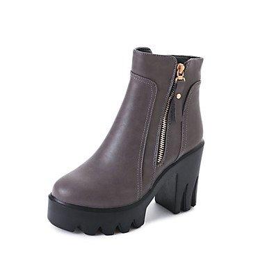 Best 4U® Da donna Stivaletti Stivali Comoda Autunno Inverno Finta pelle Casual Formale Cerniera Quadrato Nero Grigio 7,5 - 9,5 cm black