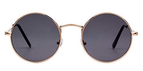 WWVAVA Sonnenbrillen Sommer Retro Runde Sonnenbrille Markendesigner Männer Frauen 2019Vintage Kreis schwarz rot rosa Linse Hippie Sonnenbrille Shades, c6