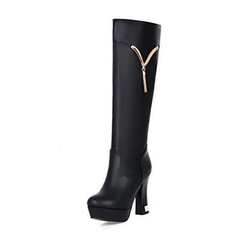 VogueZone009 Donna Tacco Alto Alta Altezza Chiodato Cerniera Stivali con Talismano Nero