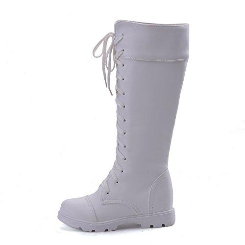 AgeeMi Shoes Femme à Talon Bas Talon Gros Haut Élevé Couleur Unie Lacet Bottes Blanc