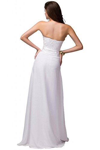 Sunvary Robe de Soiree Robe de Cocktail Courte Tulle senza manico Col Rond Perle Dentelles A-ligne Plisse, taglia White