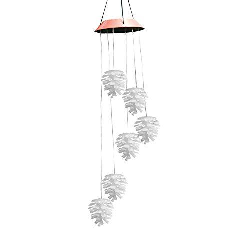 TUANMEIFADONGJI Solarbetriebenes, tragbares Windspiel mit LED-Beleuchtung, Farbwechsel, für Garten Terrasse, Deck, Hof Weihnachten Pine Cone Pattern Solar Aeolian Bell Hause Dekorationen