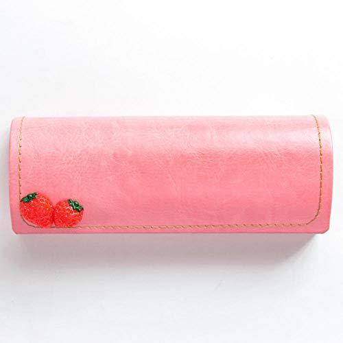 uliaadela Pu harten Brillenetui mit Griffen und Tuch |Mini Case für Frauen Teens & Girls |Für mittlere Rahmen, Foundation Strawberry 15,5 * 6 cm