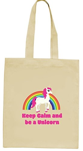 Einhorn natur Jutebeutel Stoffbeutel mit Rainbow - Keep Calm And Be A Unicorn Motiv von ShirtStreet Natur