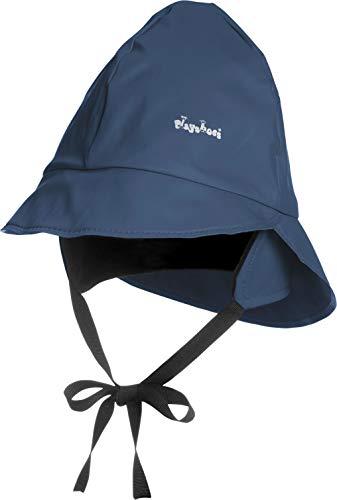 Playshoes Baby Regen-Mütze, wind- und wasserdichte Unisex-Mütze für Jungen und Mädchen mit Fleecefutter, mit Playshoes-Motiv, Blau (11 marine ), 47 cm -