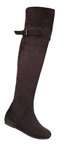 Damen Overknee Stiefel Schuhe Keil Wedges Schwarz Braun