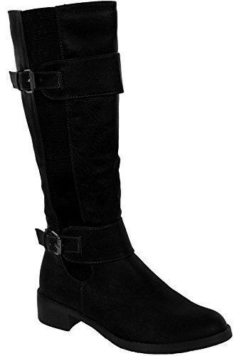 FANTASIA BOUTIQUE Pour Femmes Semelle Basse Faux Cuir àÉlastique côté femmes Bottes Hauteur Genou Chaussures Noir