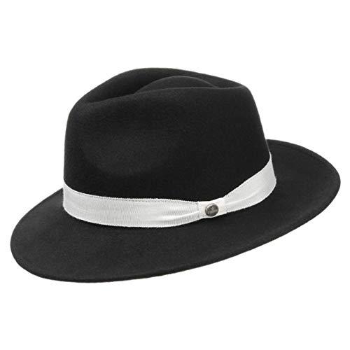 Lierys Corleone Hut Damen/Herren | Wollfilzhut mit Ripsband weiß | Klassischer Gangsterhut | Filzhut Sommer/Winter schwarz XL (60-61 cm) (Männer Jahren 1920er Hüte)