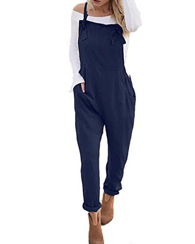 ACHIOOWA Mujer Peto Elegante Casual Largo Suelto Mono Bolsillos Tirantes Fiesta Noche Oficina Pantalones Azul L