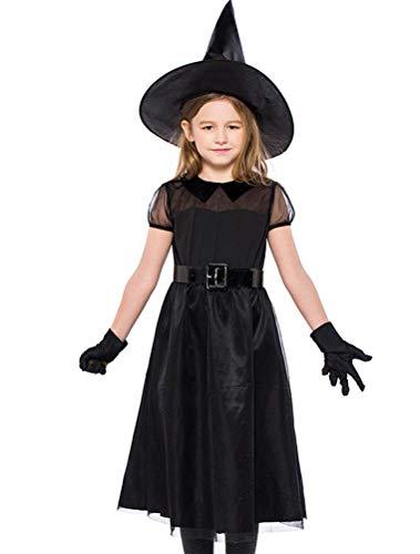 ARAUS Mädchen Kostüm Hexe Kleid + Hut + Handschuh 3 Sets Cosplay Halloween Karneval Party 4-10 Alter