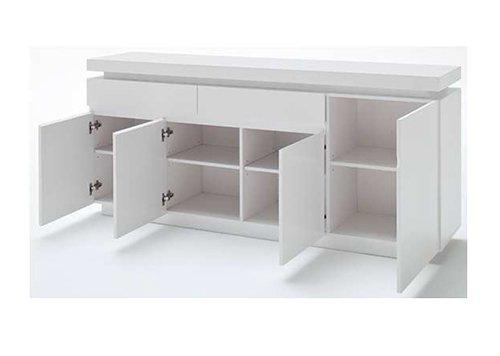 Sideboard in Hochglanz weiß mit 2 Schubkästen, 4 Türen und 4 Einlegeböden, inkl. LED-Beleuchtung, Maße: B/H/T ca. 175/81/40 cm - 2
