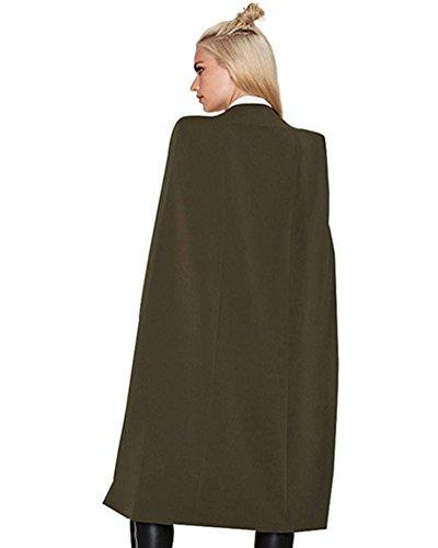 Donne Ginocchio Lunghezza Cappotto Calorosa Manica Lunga Cardigan Puro Colore Giacca Esercito Verde