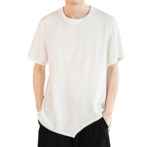Preisvergleich Produktbild Zolimx Herren Sommer Lässig Reine Farbe Baumwolle Leinen Kurz Ärmel T-Shirts Top Bluse