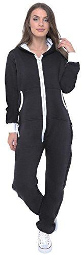 -Kapuzenpulli Hood Strampelanzug Körperanzug Jumpsuit Overall Medium Schwarz (Schwarzer Strampelanzug Frauen)