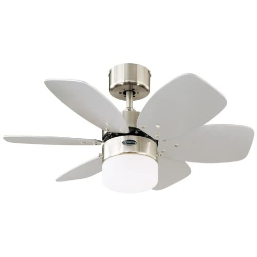 Westinghouse Lighting 78788 Flora Royale One-Light 76 cm Six Indoor Ceiling Fan, Opal Frosted Glass, Satin Chrome Finish…