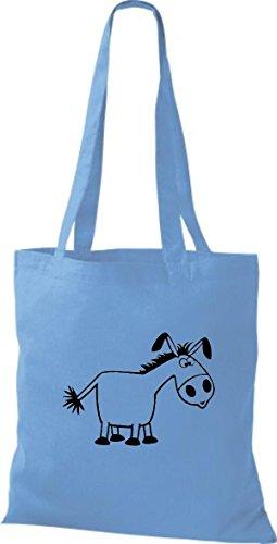Shirtstown Stoffbeutel Tiere Esel Hellblau