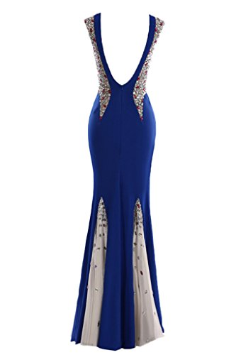 Sunvary Sexy Deep V-Back Mermaid Gowns formale atto Royal Blue