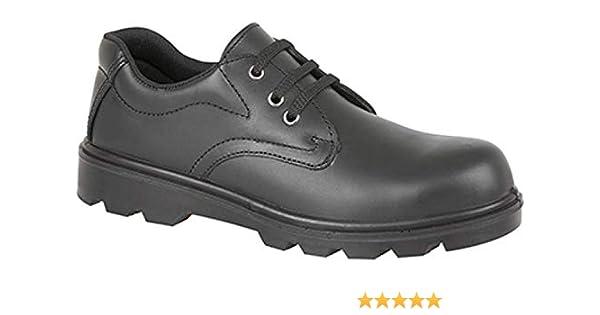 Grafters M361A Unisex Mens Women Leather Steel Toe S1 Safety Uniform Shoes Black
