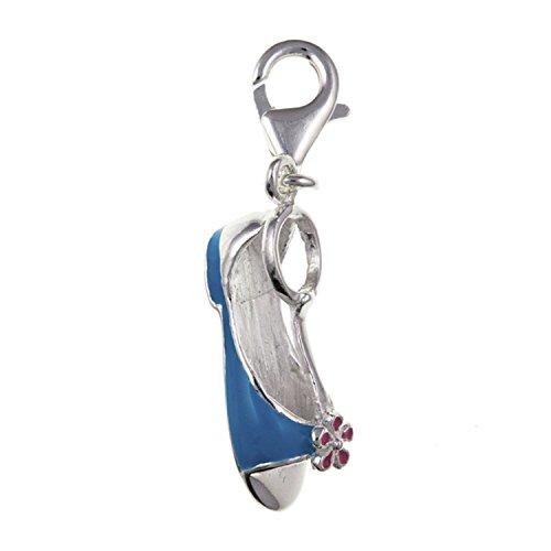 Smalto blu sandali scarpe in argento sterling charm a clip, per bracciali stile thomas sabo