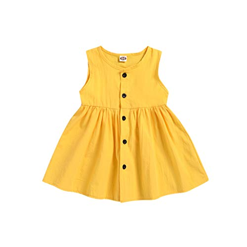 Xmiral Kinder Baby Mädchen Ärmellose Knöpfe Kleid Kleinkind Beiläufige Lose Rundhals Kleider Einfarbig A-Linie Swing Party Kleid(Gelb,6-12 Monate)