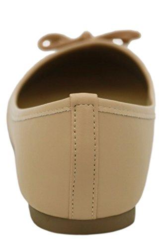 AgeeMi Shoes Slip on Ballerine Donna Scarpe Punta Tonda Vernice Fiocco Scarpe Albicocca