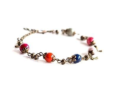 Bracelet Pierre Naturelle, Agate multicouleur, bronze, faits mains, bijoux pour femme