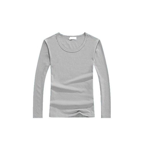 QHGstore T-shirt in cotone a maniche lunghe girocollo delle donne di base T parti superiori per la primavera Grigio M