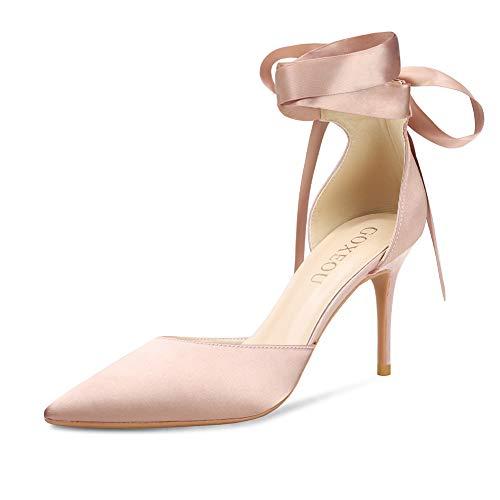 GOXEOU Damen Satin-Strappy Pumps Spitze Spitze Spitze Schnürung High Heels Hochzeit Braut Stiletto Schuhe - 7,6 cm, Pink (Satin Nude), 38 EU Pink Satin Heels