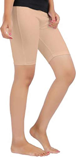 LADIES STRETCHY COTTON LYCRA ABOVE KNEE SHORTS ACTIVE LEGGING (MEDIUM, TAN) - Tan Womens Shorts