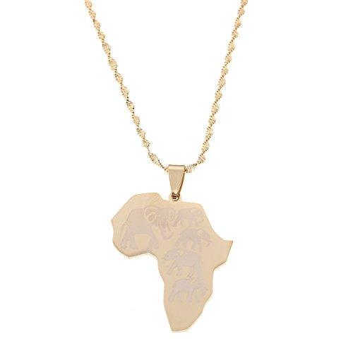 BR Gold Jewelry Collares de acero inoxidable con colgante de mapa de...
