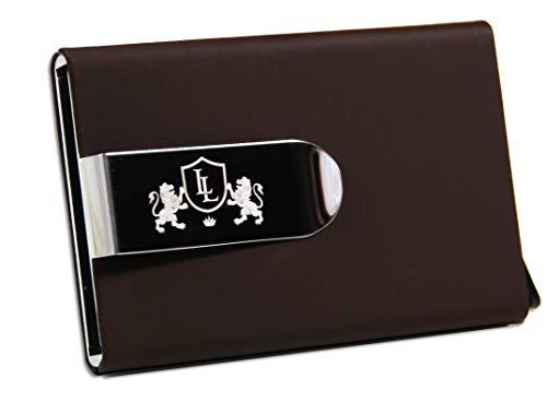 Excellence - Luxury Lifestyle Kreditkartenetui mit Geldklammer RFID Schutz | Kartenetui Aluminium mit Geld Clip | Geldbörse Kreditkartenhalter | Scheckkartenetui Geldscheinklammer Damen & Herren | EC Kartenhalter Geschenk Braun