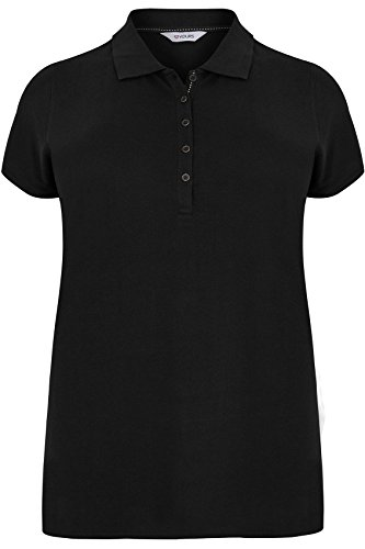 Yours Clothing Women's Plus Size Button up Polo Shirt