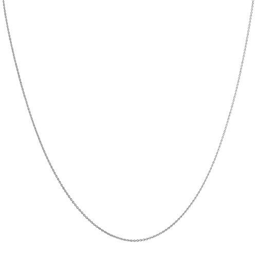 14 Karat 585 Gold Feine Rund Ankerkette Breite 0.8 mm Weißgold Kette - Länge wählbar (60)
