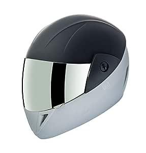 Gliders. Jazz D2 Full Face Mirror Visor ABS Shell Helmet (Matt Black with Silver Decor, 580 mm)